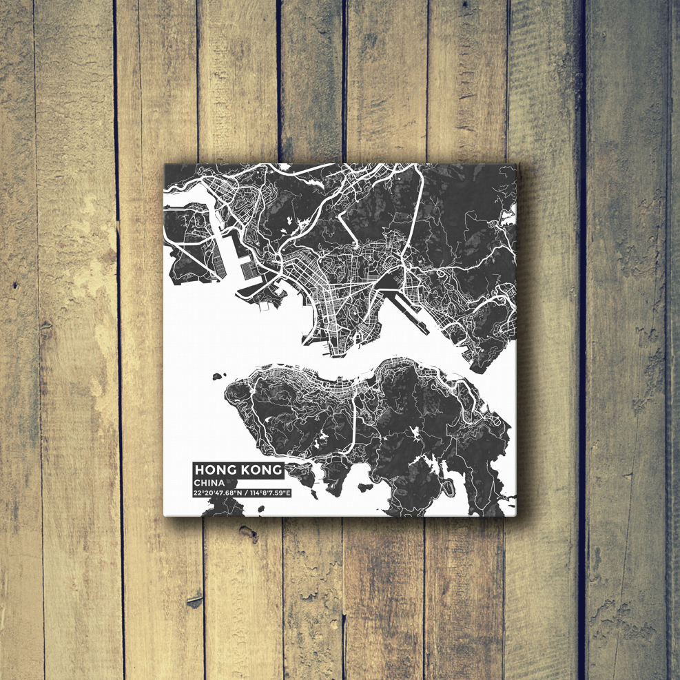 Gallery Wrapped Map Canvas of Hong Kong China - Subtle Contrast