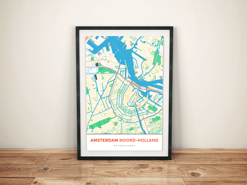 Premium Map Poster of Amsterdam Noord-Holland - Simple Colorful - Unframed