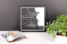 Framed Map Poster of Chicago Illinois - Modern Contrast - Chicago Map Art