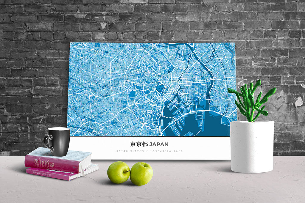 Gallery Wrapped Map Canvas of Tokyo Japan - Simple Blue Contrast