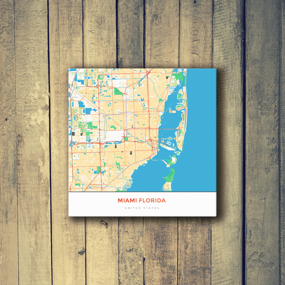 Gallery Wrapped Map Canvas of Miami Florida - Map Art & Travel Decor ...