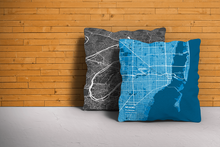 Map Throw Pillow of Miami Florida - Subtle Blue Contrast - Miami Map Art