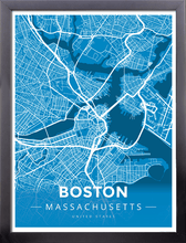Framed Map Poster of Boston Massachusetts - Modern Blue Contrast - Boston Map Art