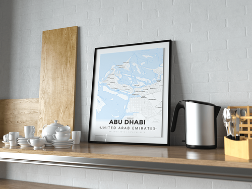 Premium Map Poster of Abu Dhabi United Arab Emirates - Modern Ski Map - Unframed - Abu Dhabi Map Art