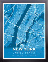 Framed Map Poster of New York United States - Modern Blue Contrast