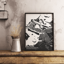Premium Map Poster of Abu Dhabi United Arab Emirates - Subtle Contrast - Unframed - Abu Dhabi Map Art
