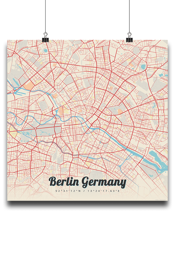 Berlin Map Of Germany.Premium Map Poster Of Berlin Germany Lobster Retro Unframed Berlin Map Art