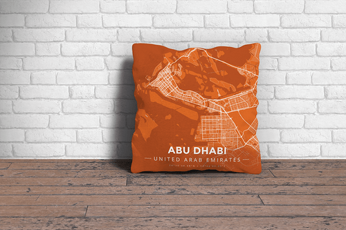Map Throw Pillow of Abu Dhabi United Arab Emirates - Modern Burnt - Abu Dhabi Map Art