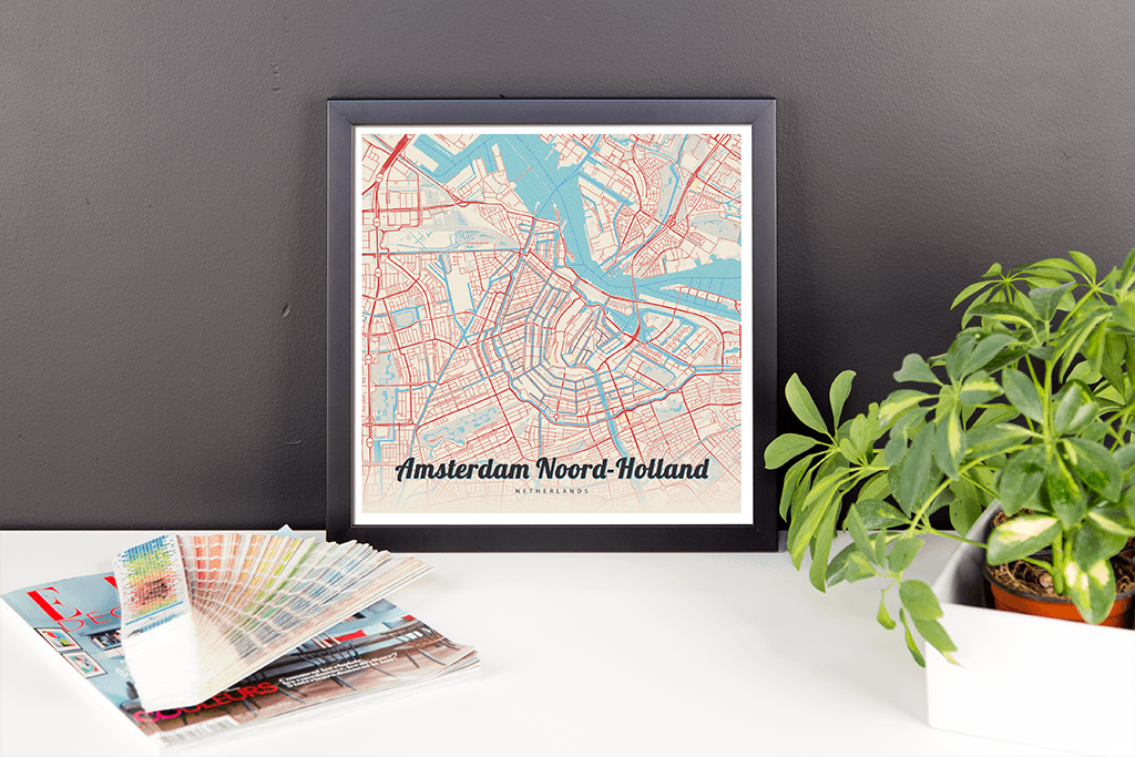 Framed Map Poster of Amsterdam Noord-Holland - Lobster Retro - Amsterdam Map Art