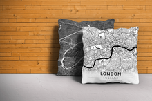 Map Throw Pillow of London England - Modern Black Ink