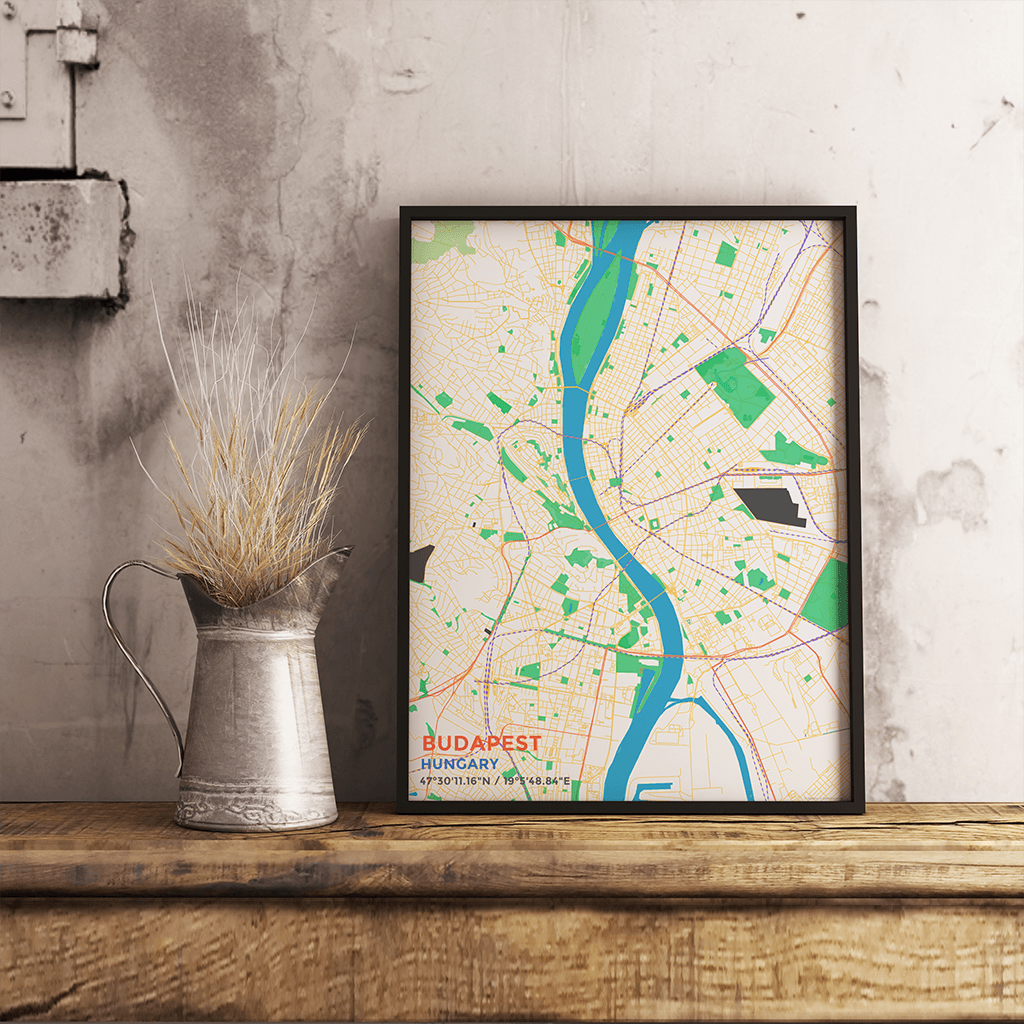 Premium Map Poster Of Budapest Hungary Map Art Travel Decor - Vintage budapest map