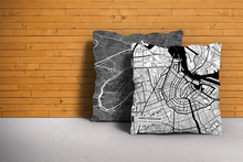 Map Throw Pillow of Amsterdam Noord-Holland - Subtle Black Ink