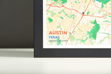 Framed Map Poster of Austin Texas - Subtle Colorful - Austin Map Art