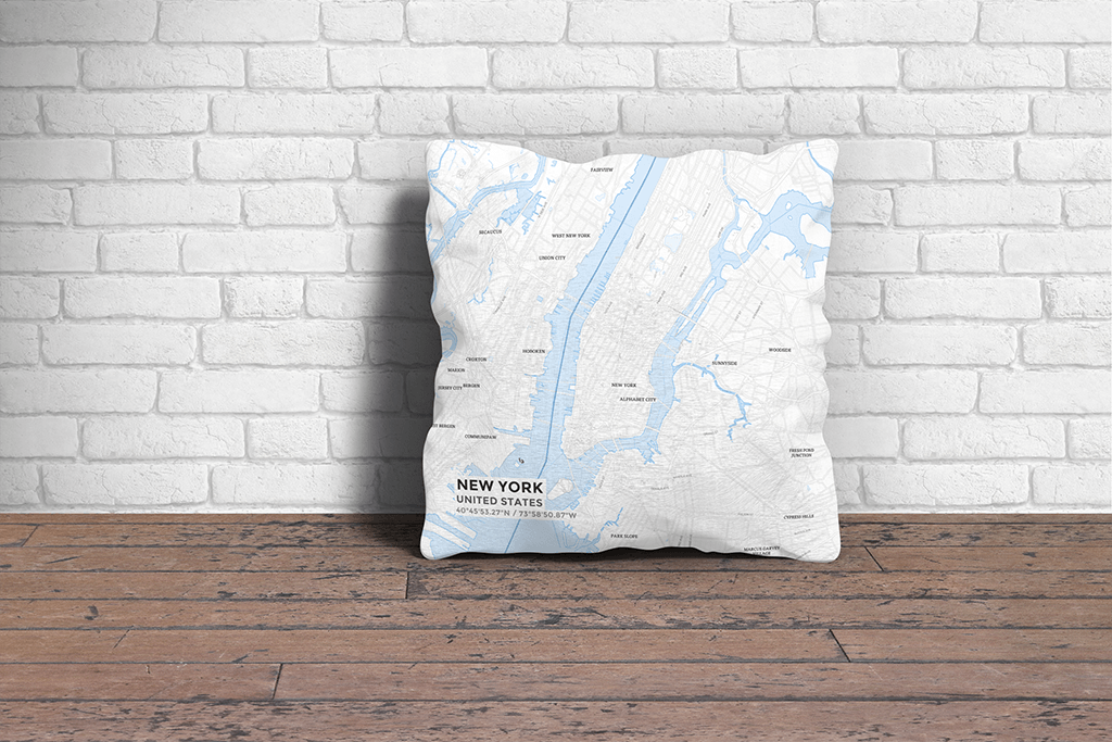 Map Throw Pillow of New York United States - Subtle Ski Map