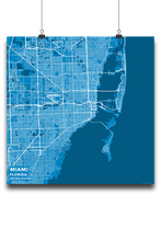 Premium Map Poster of Miami Florida - Subtle Blue Contrast - Unframed - Miami Map Art