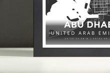 Framed Map Poster of Abu Dhabi United Arab Emirates - Modern Contrast - Abu Dhabi Map Art