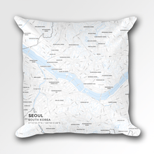 Map Throw Pillow of Seoul South Korea - Subtle Ski Map