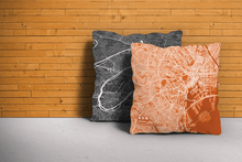 Map Throw Pillow of Tokyo Japan - Subtle Burnt