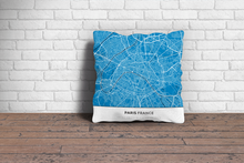Map Throw Pillow of Paris France - Simple Blue Contrast