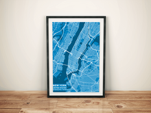 Premium Map Poster of New York United States - Subtle Blue Contrast - Unframed