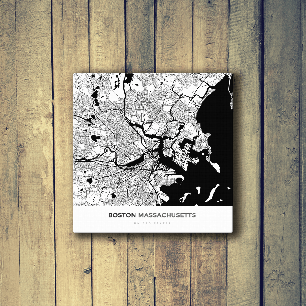 Gallery Wrapped Map Canvas Of Boston Massachusetts Map Art
