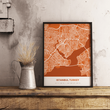 Premium Map Poster of Istanbul Turkey - Simple Burnt - Unframed