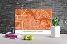 Gallery Wrapped Map Canvas of Amsterdam Noord-Holland - Simple Burnt