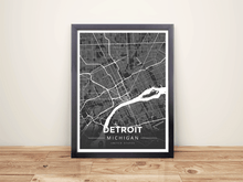 Framed Map Poster of Detroit Michigan - Modern Contrast - Detroit Map Art