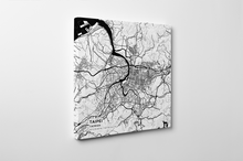Gallery Wrapped Map Canvas of Taipei Taiwan - Subtle Black Ink