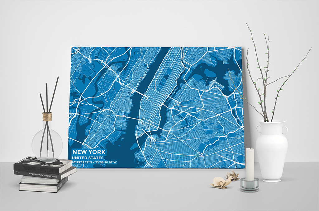 Gallery Wrapped Map Canvas of New York United States - Subtle Blue Contrast