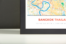 Framed Map Poster of Bangkok Thailand - Simple Colorful