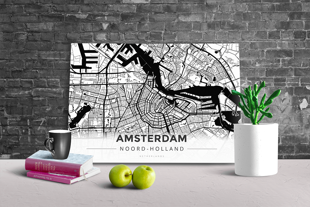 Gallery Wrapped Map Canvas of Amsterdam Noord-Holland - Modern Black Ink