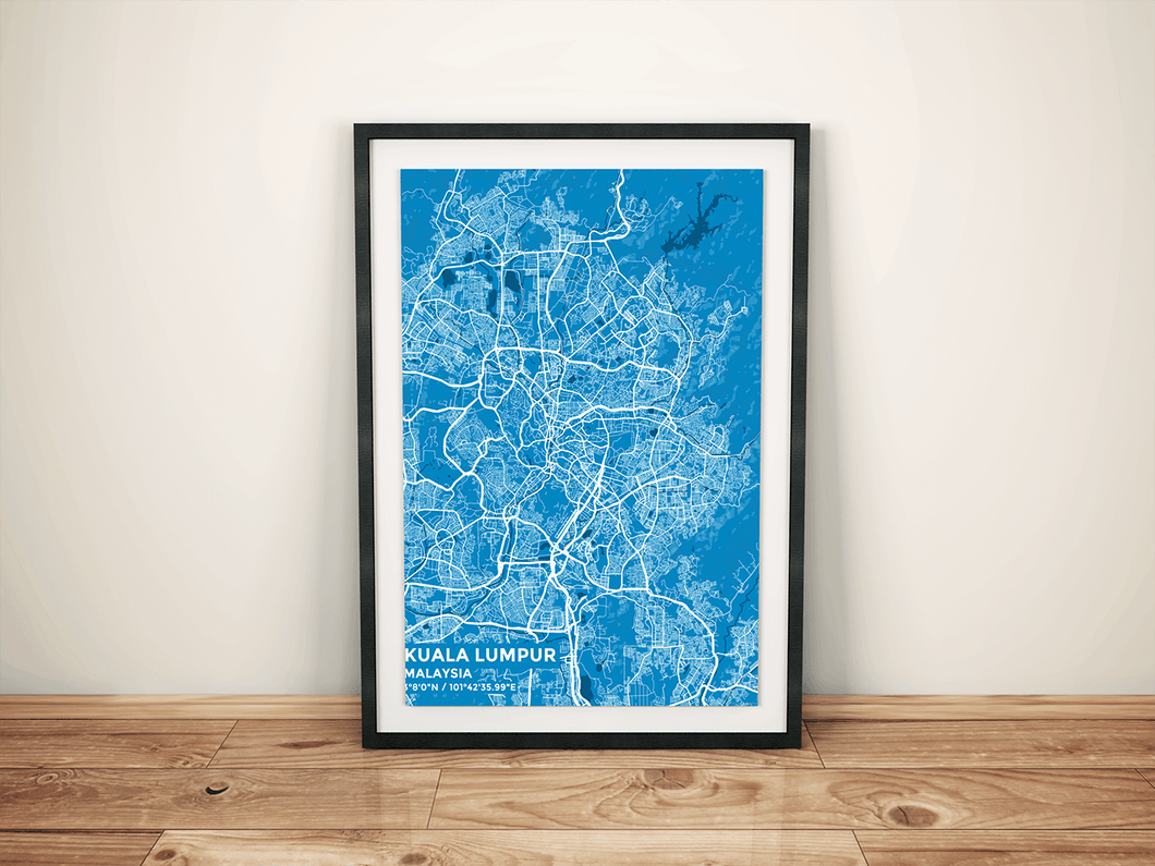 Premium Map Poster of Kuala Lumpur Malaysia - Subtle Blue Contrast - Unframed