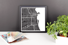Framed Map Poster of Chicago Illinois - Subtle Contrast - Chicago Map Art