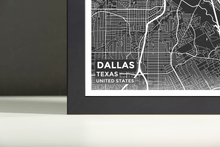 Framed Map Poster of Dallas Texas - Subtle Contrast - Dallas Map Art