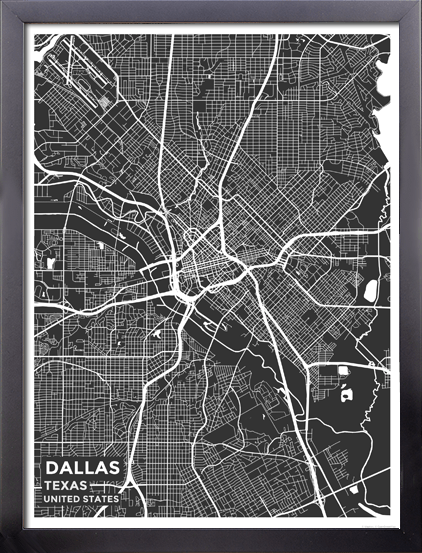 Framed Map Poster Of Dallas Texas Map Art Travel Decor Mapprints