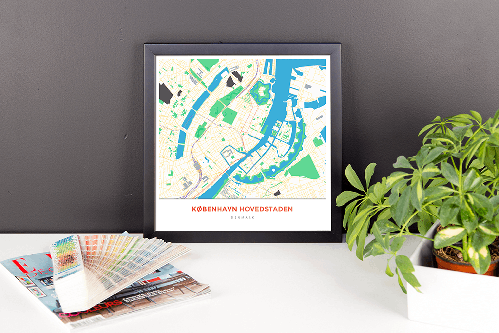 Framed Map Poster of Copenhagen Denmark - Simple Colorful - Copenhagen Map Art