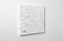 Gallery Wrapped Map Canvas of Paris France - Subtle Ski Map