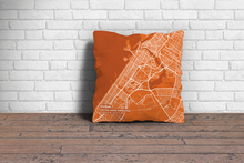 Map Throw Pillow of Dubai United Arab Emirates - Subtle Burnt