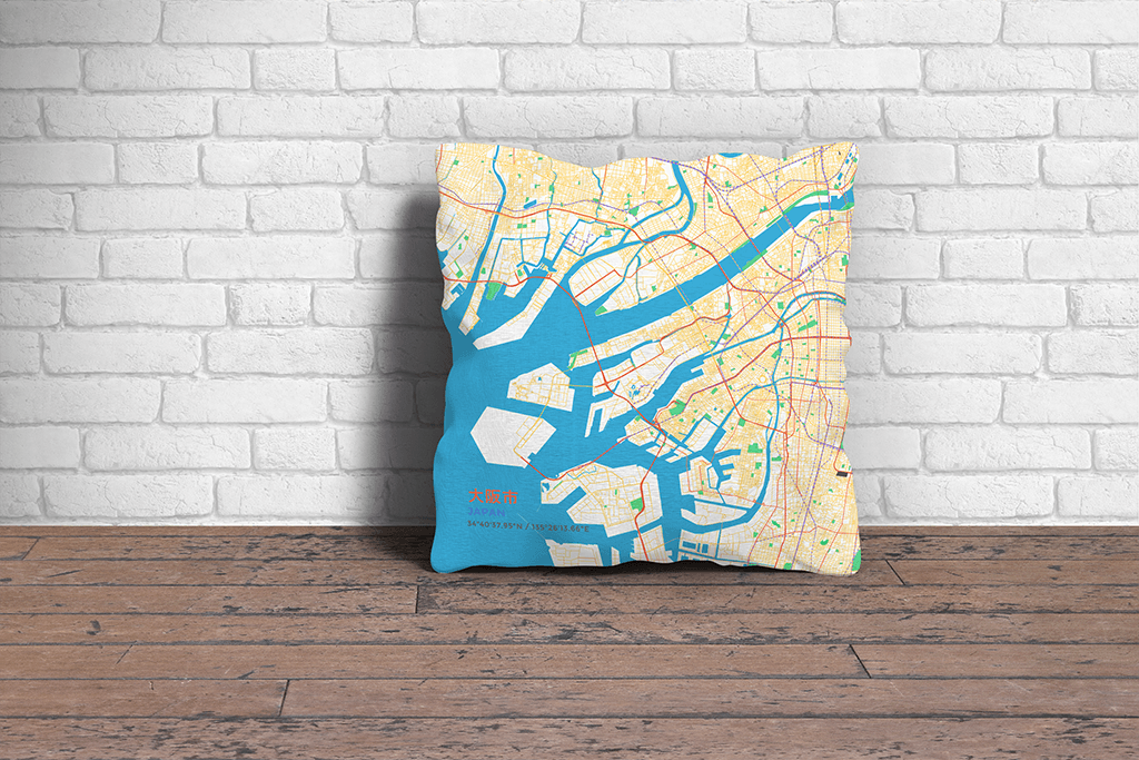 Map Throw Pillow of Osaka Japan - Subtle Colorful