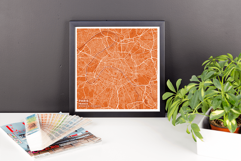 Framed Map Poster of Paris France - Subtle Burnt
