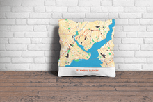 Map Throw Pillow of Istanbul Turkey - Simple Colorful