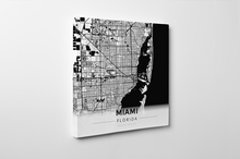 Gallery Wrapped Map Canvas of Miami Florida - Modern Black Ink - Miami Map Art