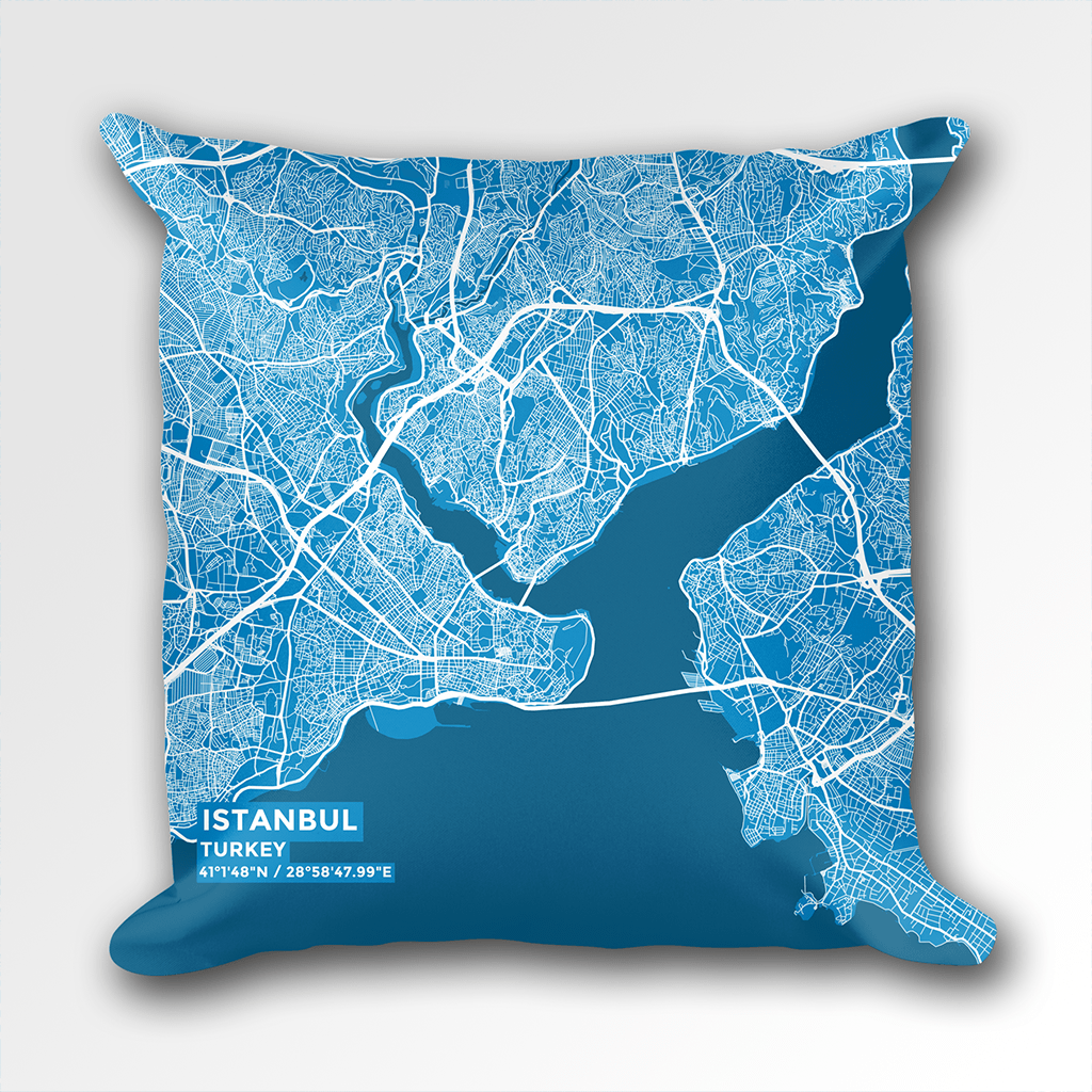 Map Throw Pillow of Istanbul Turkey - Subtle Blue Contrast