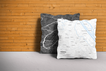 Map Throw Pillow of Vienna Austria - Subtle Ski Map