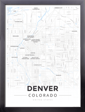 Framed Map Poster of Denver Colorado - Modern Ski Map - Denver Map Art