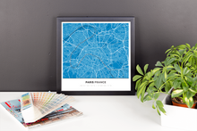 Framed Map Poster of Paris France - Simple Blue Contrast