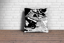 Map Throw Pillow of Abu Dhabi United Arab Emirates - Subtle Black Ink - Abu Dhabi Map Art