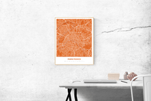 Premium Map Poster of Paris France - Simple Burnt - Unframed