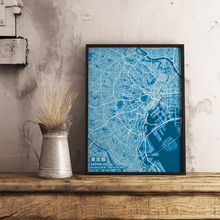 Premium Map Poster of Tokyo Japan - Subtle Blue Contrast - Unframed